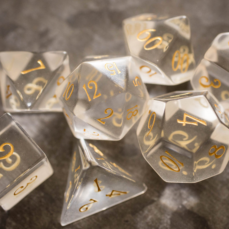 URWizards Dnd Clear Glass Gemstone Engraved Dice Set - Urwizards