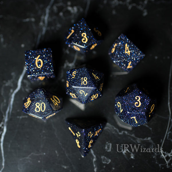 URWizards Dnd Blue Sandstone Gemstone Engraved Dice Set - Urwizards