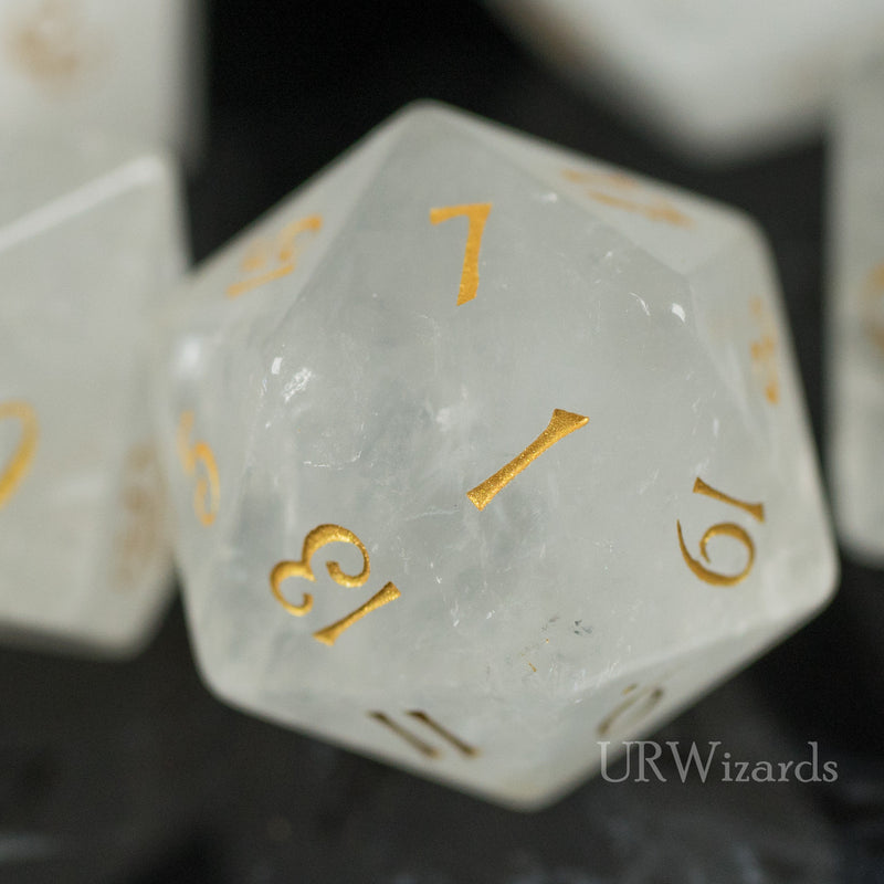 URWizards Dnd Clear Quartz Gemstone Engraved Dice Set - Urwizards
