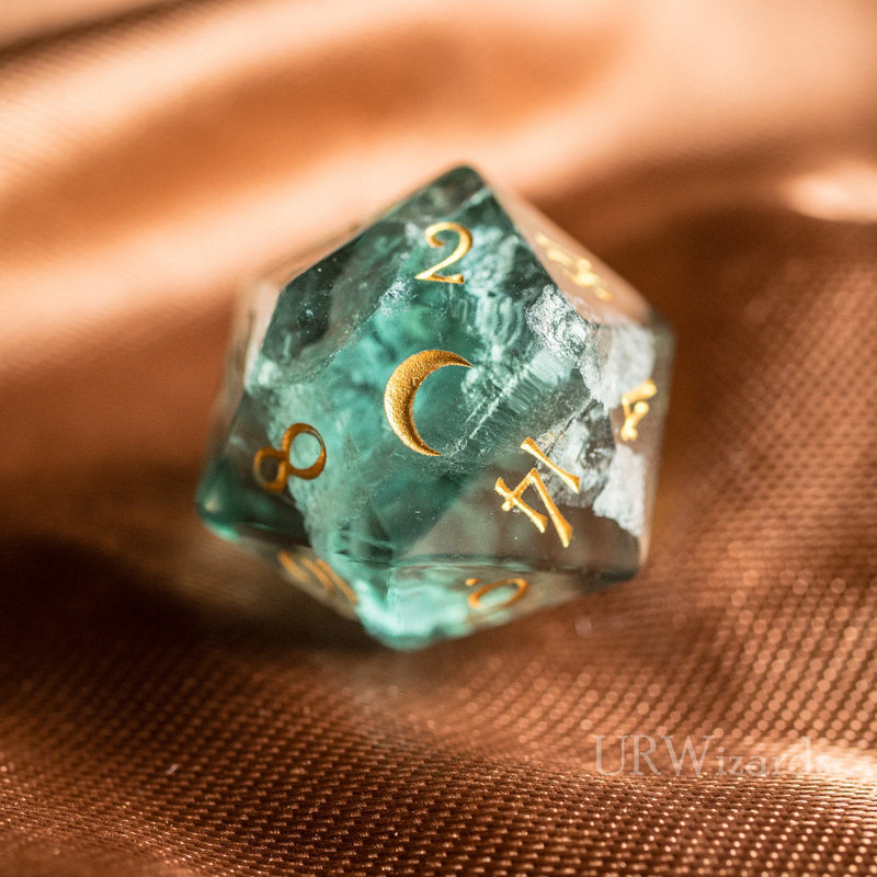 URWizards Dnd Green Fluorite Gemstone Engraved Dice Set Moon Style - Urwizards