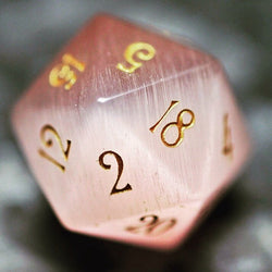URWizards Dnd Pink Cat's Eye Gemstone Engraved Dice Set - Urwizards