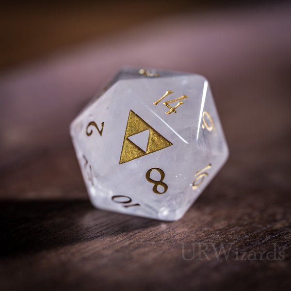 URWizards Dnd Clear Quartz Engraved Dice Set Zelda Triforce Triangle - Urwizards