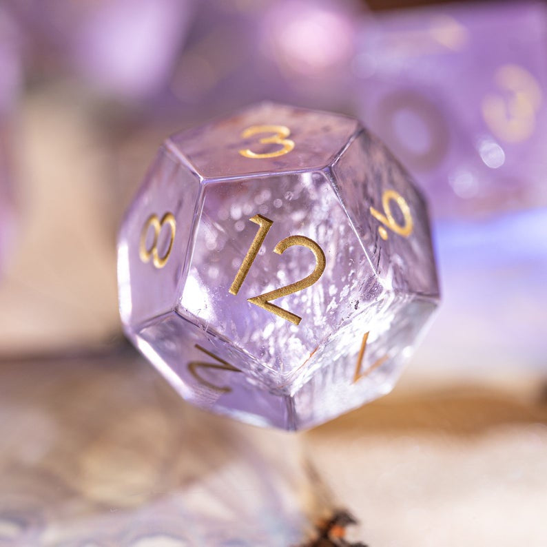 URWizards Dnd Lavender Amethyst Engraved Dice Set - Urwizards