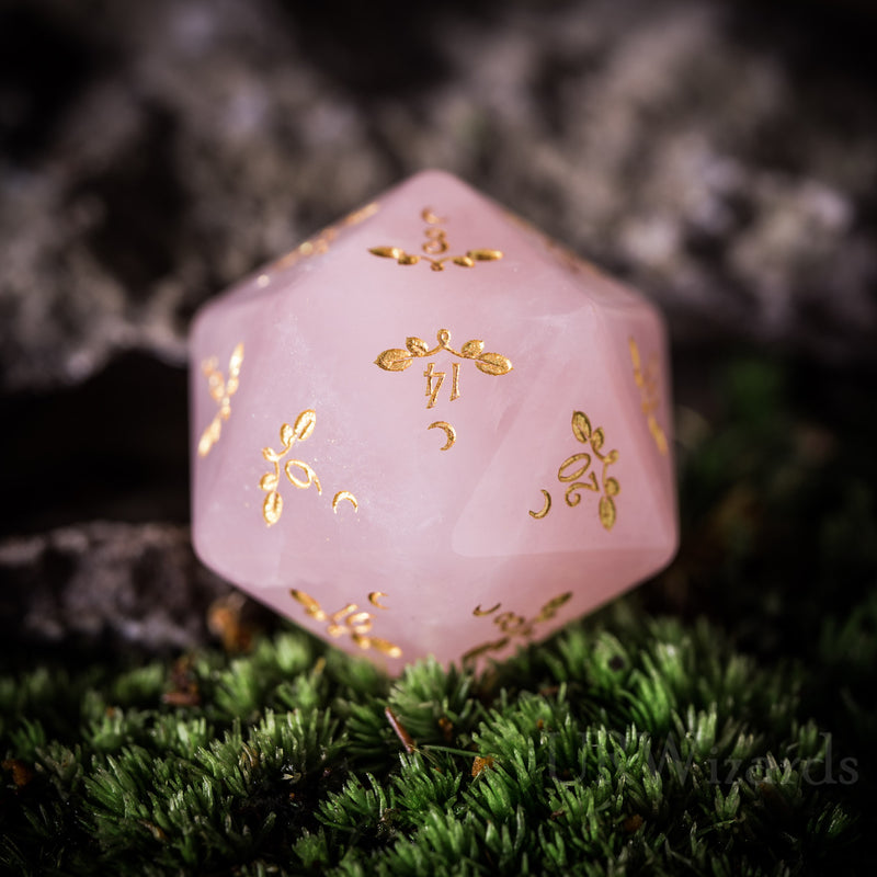 URWizards Dnd Rose Quartz Gemstone Engraved Dice Set Plant Vine Style - Urwizards