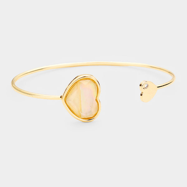 Mother of Pearl Heart Cuff Bracelet