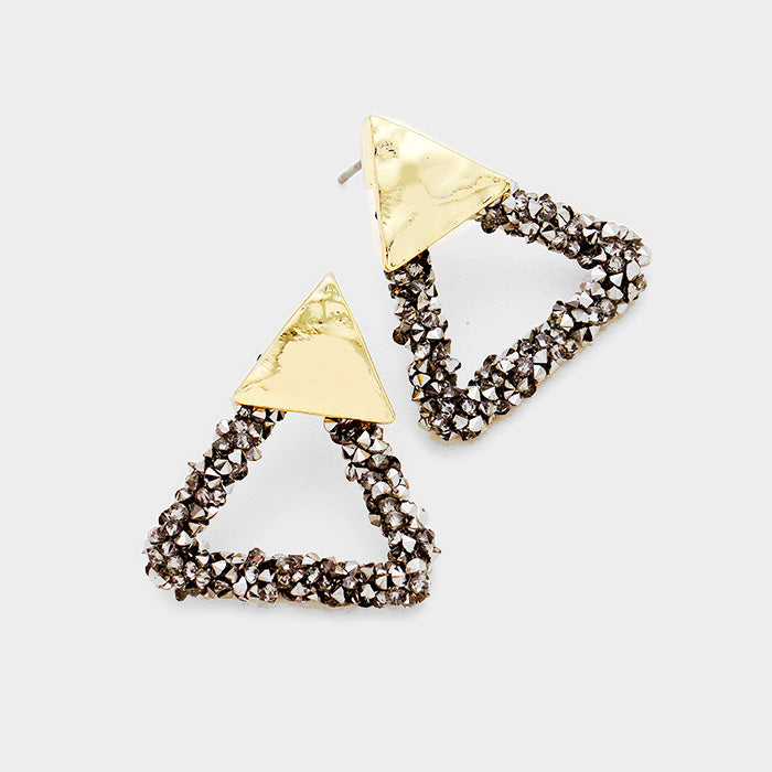 Hematite Stone Triangle Earrings