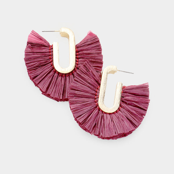 Raffia Fan Tassel Earrings