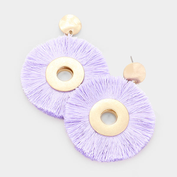 Thread Tassel Disc Earrings