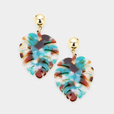 Palm Leaf Acetate Earrings