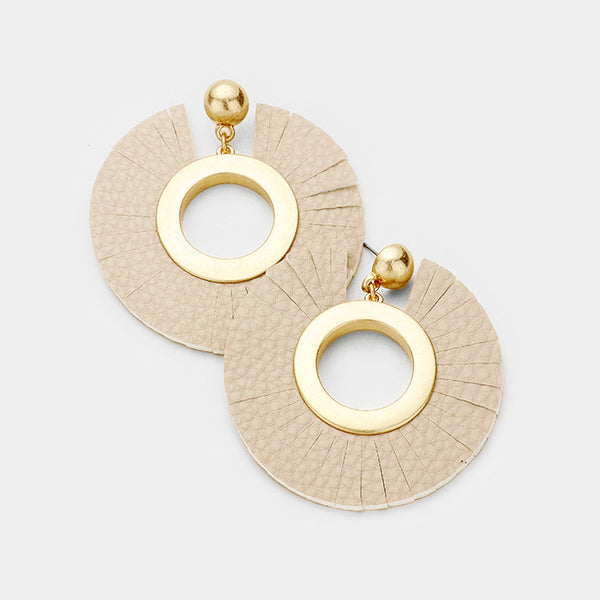 Clara Leather Circle Earrings