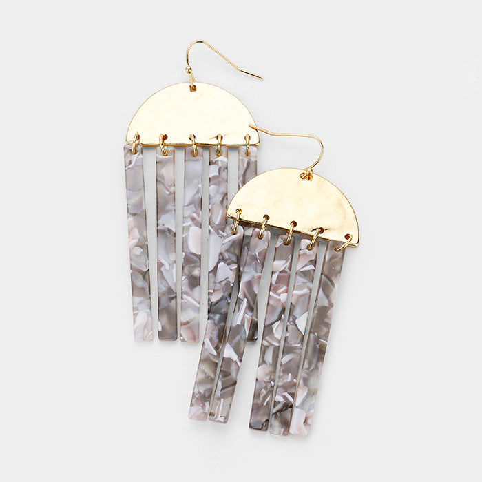 Acetate Dangle Geo Earrings
