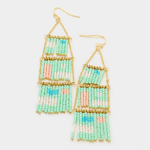 Abstract Fringe Seed Bead Earrings