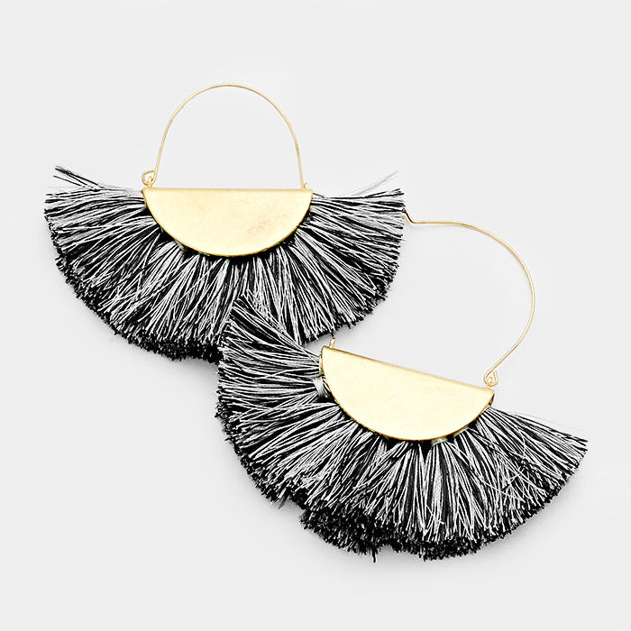 Half Round Tassel Earrings