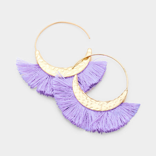 Hammered Metal Crescent Tassel Earrings