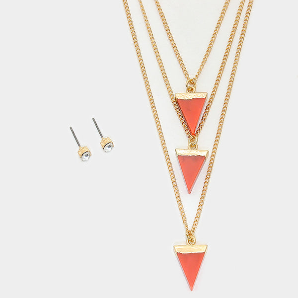 Layered Triangle Coral Necklace