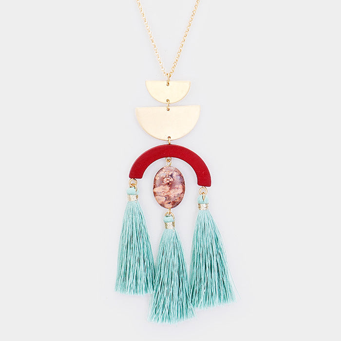 Olia Geo Tassel Necklace