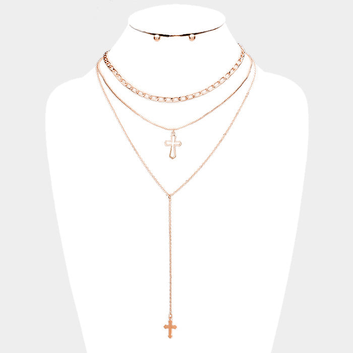 Triple Layered Cross Pendant Necklace