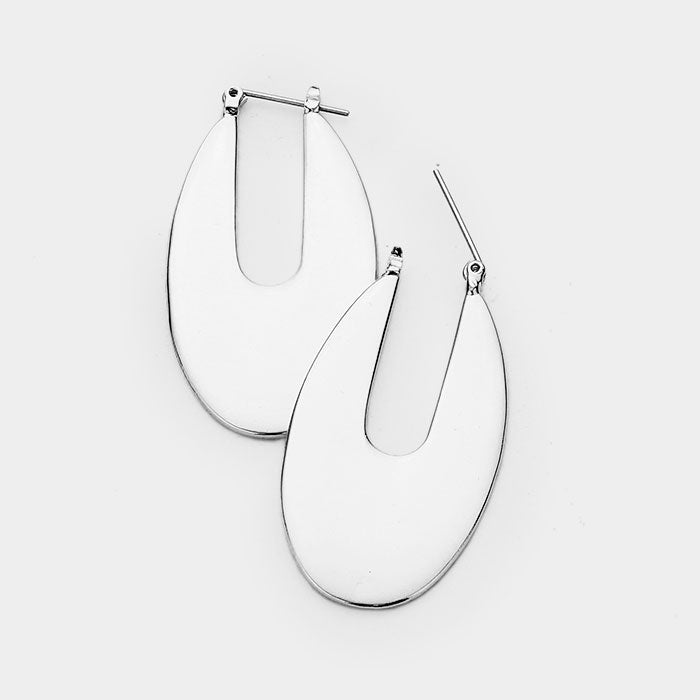 Metal Oval Catch Pin Earrings