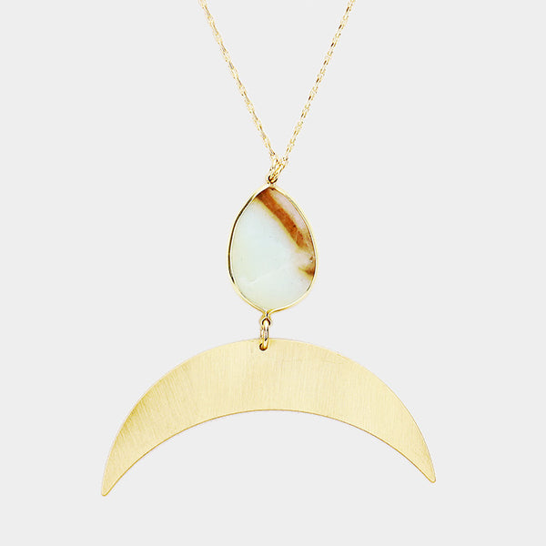 Teardrop Agate Horn Necklace