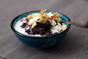 Black Rice Pudding with Toppings