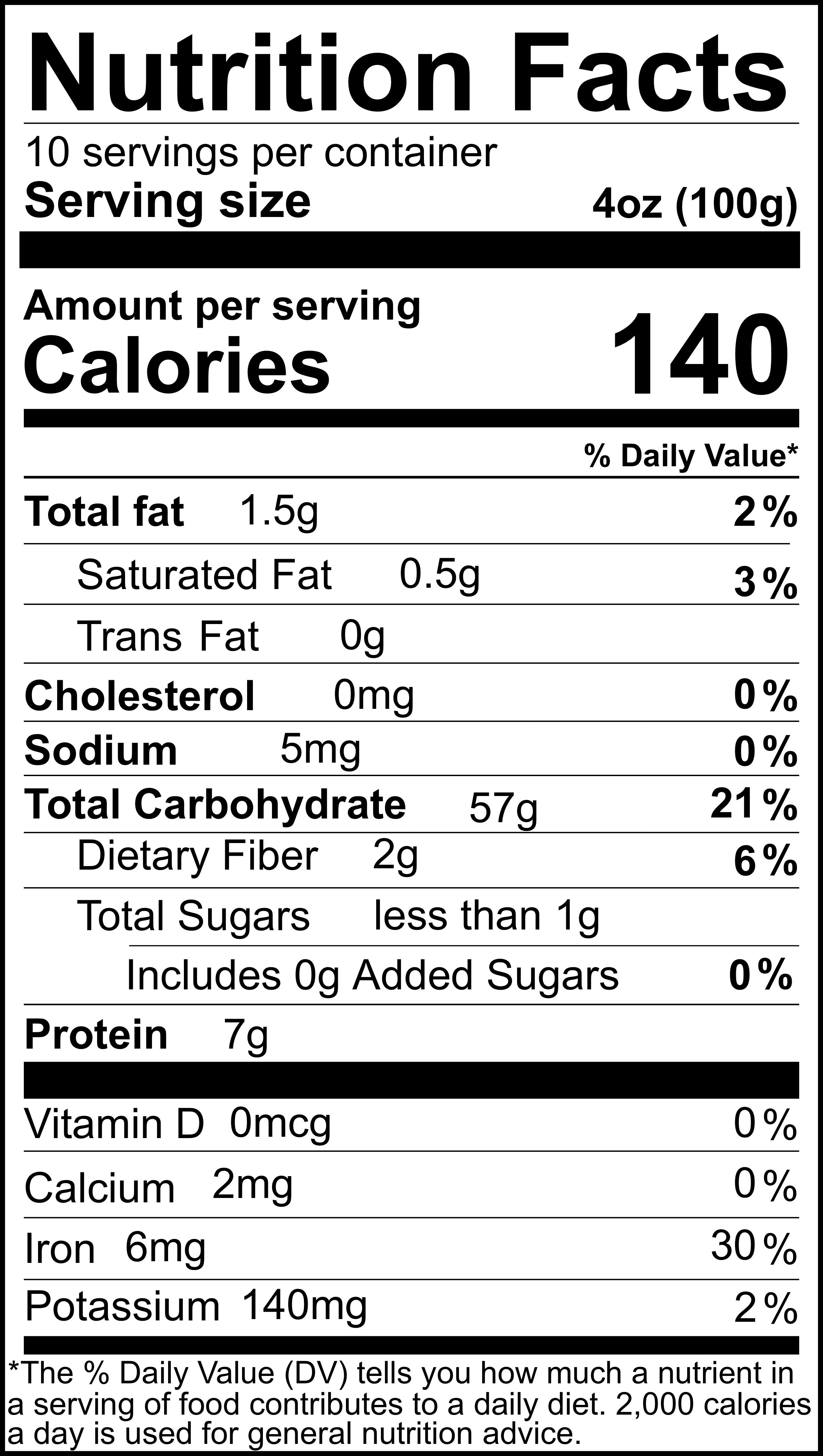 Black Rice Pudding Mix Nutrition Information