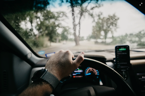 driving on the road with phone mount