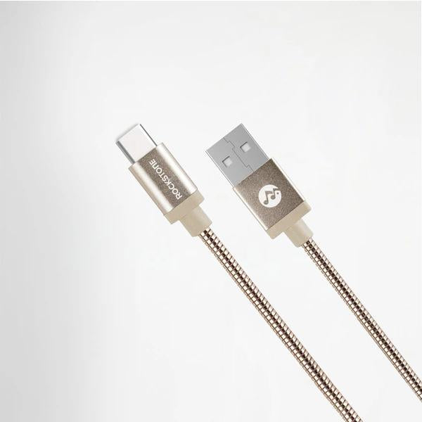 Pet Friendly Metal Tangle Free Braided Type C Cable Rose Gold - 1.2 Meter