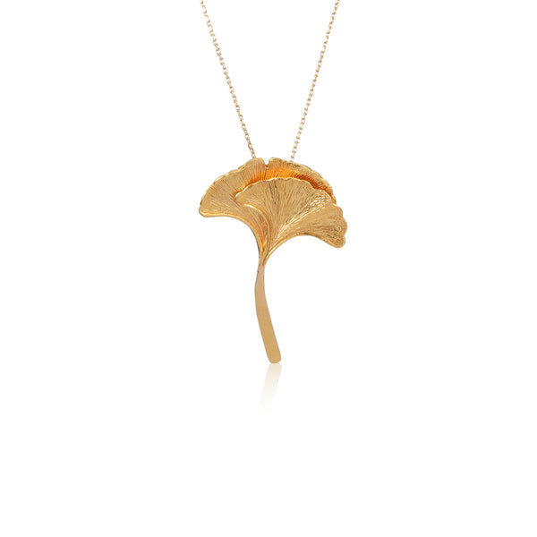 "銀杏葉 ""純金"" 項鍊 - Autumn Reverie ""Solid Gold"" Necklace"