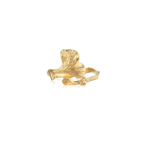"銀杏葉 ""純金"" 戒指 - Autumn Reverie ""Solid Gold"" Ring"