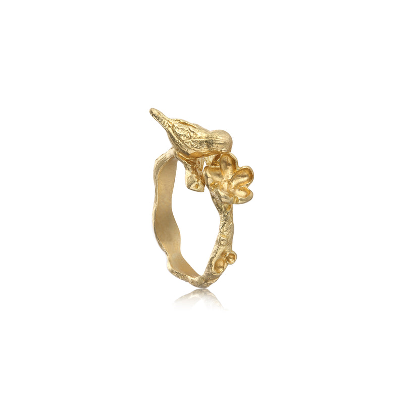 "喜上眉梢 ""純金"" 戒指 - A Magpie's Eye ""Solid Gold"" Ring - GINYU 今鈺"
