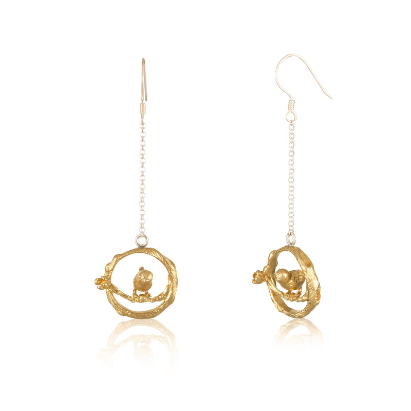 "喜上眉梢 ""純金"" 耳環 - A Magpie's Eye ""Solid Gold"" Earrings"