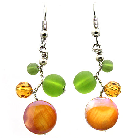 Amber Shell and Green Glass Earrings - Nurit Niskala