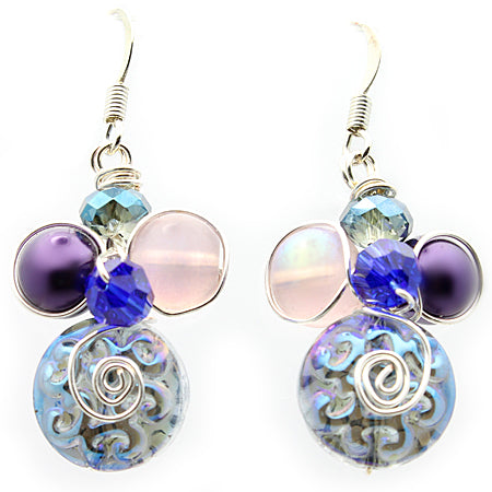 Purple Blue Art Glass Earrings - Nurit Niskala
