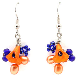 Blue Orange Flower Earrings - Nurit Niskala