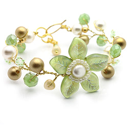 Green and Gold Flowers Bracelet - Nurit Niskala