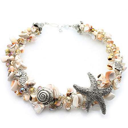 Spring-Beach Shell Crochet Necklace - Nurit Niskala