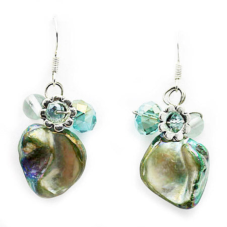 Aqua Mother Of Pearl Earrings - Nurit Niskala