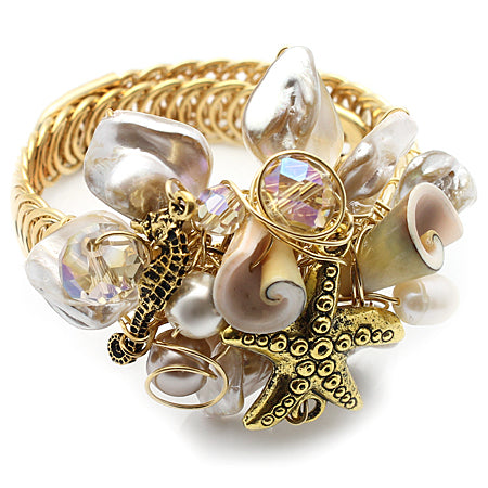 Beach Mother of Pearl and Gold Bracelet - Nurit Niskala