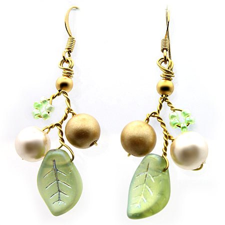 Green and Gold Flower Petal Earrings - Nurit Niskala