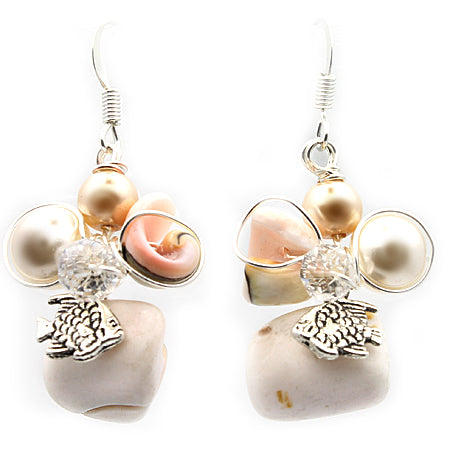 Beach Fish and Shell Earrings - Nurit Niskala