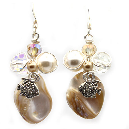 Beach Mother of Pearl Earrings - Nurit Niskala