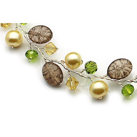 Pearl with Green Crystal Necklace - Nurit Niskala