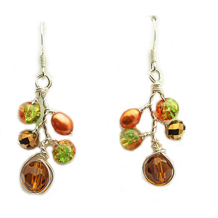 Orange Crystal Earrings - Nurit Niskala