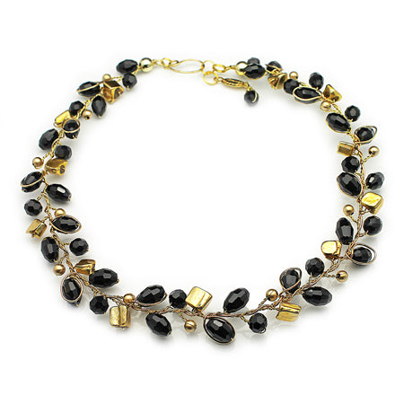 Gold Black Necklace - Nurit Niskala