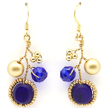 Cobalt Gold Earrings - Nurit Niskala