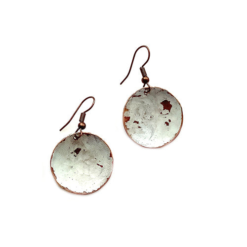 Concave White Patina Earrings