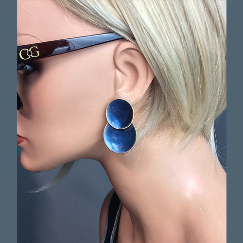 Blue Stud Two Circle Earrings