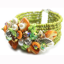 Orange and Green Cuff Bracelet - Nurit Niskala