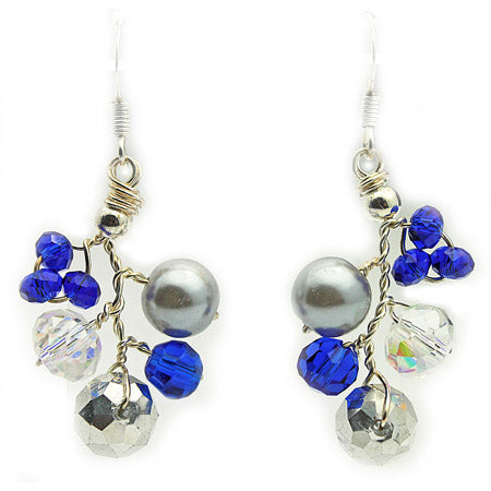 Royal Blue and Silver Earrings - Nurit Niskala