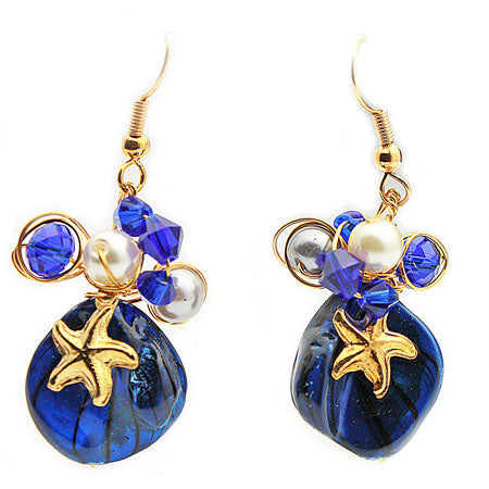 Deep Blue Gold Starfish Earrings - Nurit Niskala